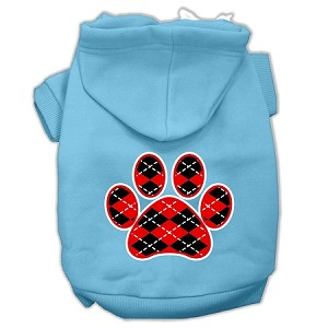 Argyle Paw Red Screen Print Pet Hoodies Baby Blue Size Sm (10)